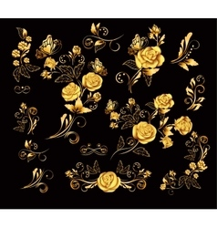Flowers with gold roses vector image