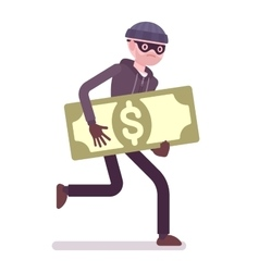 Thief in a black mask stole money and is running vector