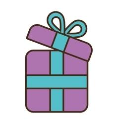 Cartoon purple gift box wrap ribbon vector