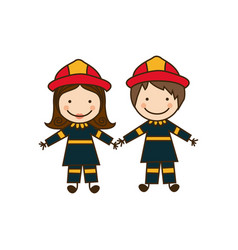 Colorful caricature couple firefighters costume vector