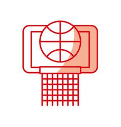 Shadow basket ball in the hoop cartoon vector