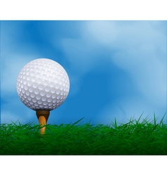 Golf ball in front of sky golf background vector