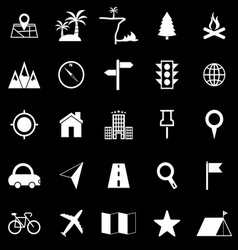 Location icons on black background vector