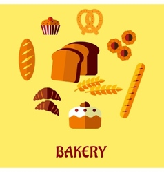 Bakery flat icon set on yellow background vector image