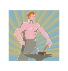 Blacksmith With Hammer and Anvil Retro Style vector image