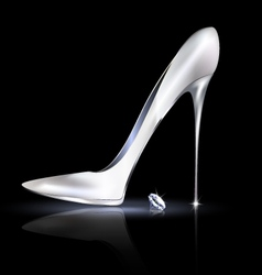 Silver shoe and crystal vector