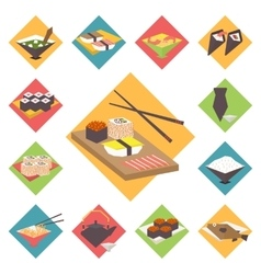 Sushi japanese cuisine food icons set flat vector