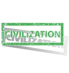 Green outlined civilization stamp vector