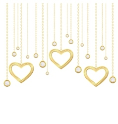 golden hearts vector image