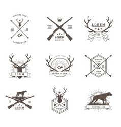 Set of hunting labels vector
