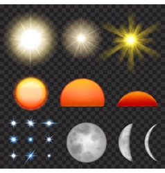 Sun moon and stars vector