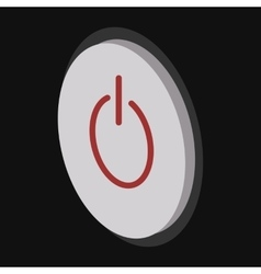 Grey power button cartoon icon vector