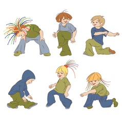 Children dancing hip-hop vector