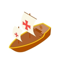 Columbus day ship isometric 3d icon vector