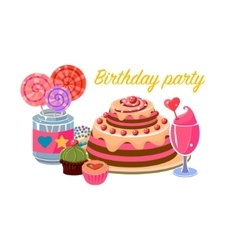 Birthday party sweets collection vector