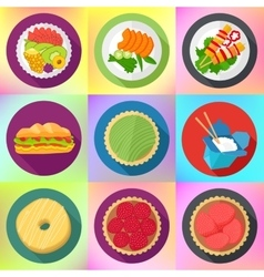 Food flat style pictograms collection vector
