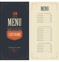 Menu with cutlery fork spoon and knife vector