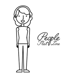 People flat line design vector