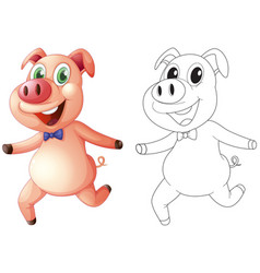Animal outline for cute pig vector