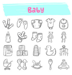 Baby hand drawn doodle icon set vector
