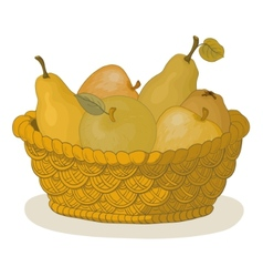 basket with fruits vector image vector image