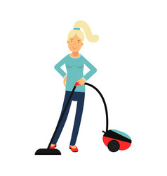 Beautiful young blonde woman housewife cleaning vector