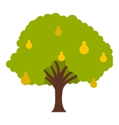 Big tree with fruit icon flat style vector image vector image