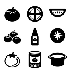 black tomato icons set vector image