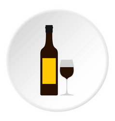 Bottle of wine icon circle vector