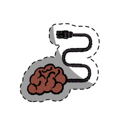 Brain human with cable creative icon vector