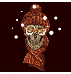 Christmas Hipster Skull Winter vector image vector image