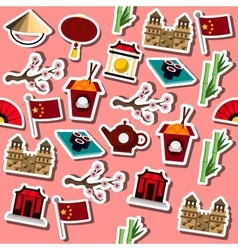 Colored china icons pattern vector