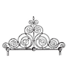 Coronal finial is made of wrought-iron tombs vector