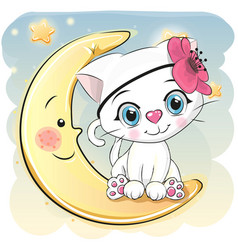 Cute cartoon white kitten on the moon vector