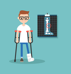 Disabled nerd on crutches with broken leg vector