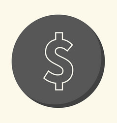 Dollar symbol round line icon with the vector