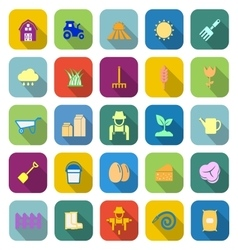Farming color icons with long shadow vector image vector image