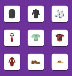 Flat clothes set of male footware cravat foot vector