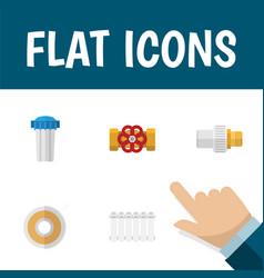 Flat icon plumbing set of pump valve radiator vector