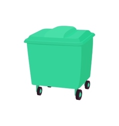 Green garbage container icon cartoon style vector image