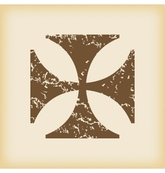 Grungy maltese cross icon vector