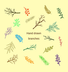 Hand drawn silhouettes of tree branches vector