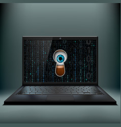Human eye in the keyhole and a laptop cybercrime vector
