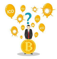 ico or initial coin offering concept vector image