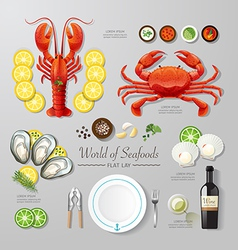 Infographic food business seafood flat lay idea vector image vector image