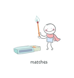 Man and matches box vector