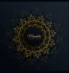mandala ornament decoration on black background vector image vector image