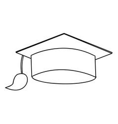 Monochrome silhouette of graduation cap vector