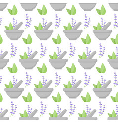 Mortar herbs seamless pattern vector