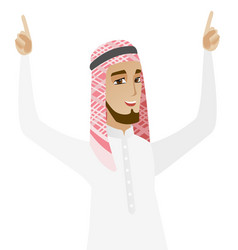 Muslim businessman standing with raised arms up vector